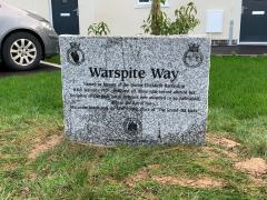 A memorial stone has ben erected on the development in tribute to HMS Warspite whose last resting place was near to Marazion